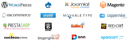 HostMySite Integrated Application Catalog group of icons such as WordPress, Drupal, Magento, Gallery