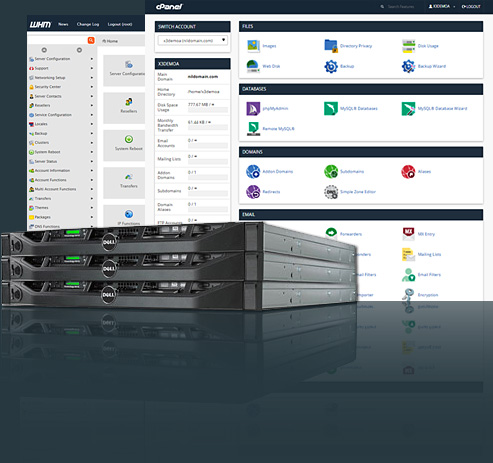 cPanel and WHM screens behind Dell servers