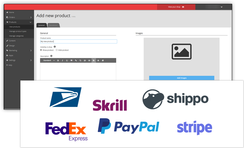 ePages eCommerce Admin Payment and Shipping options